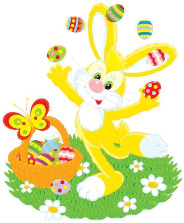 grass plot: Easter Bunny juggles painted eggs Illustration