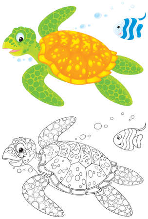 outline drawing of fish: Marine turtle and fish
