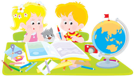 first grader: Girl and boy with a scrapbook