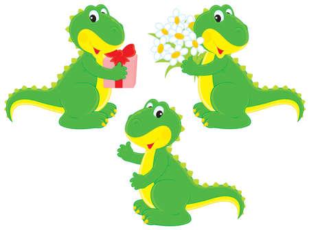 small reptiles: Dinosaur con un regalo e mazzo di fiori