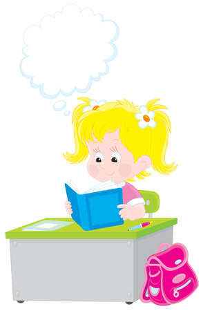 thinking student: Schoolgirl reading a textbook Illustration