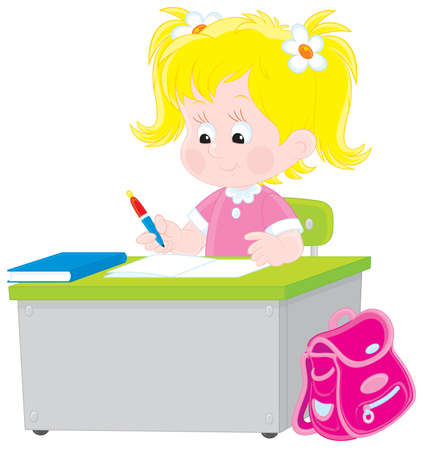 child of school age: School girl writing a test in school