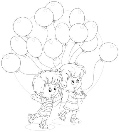 gleeful: Children with holiday balloons Illustration