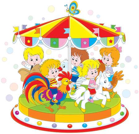 girls having fun: Children riding on a funny carousel