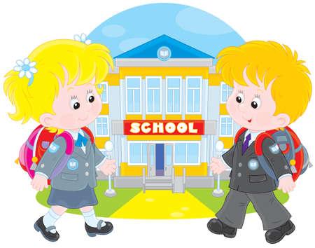 schooldays: Schoolchildren going to school