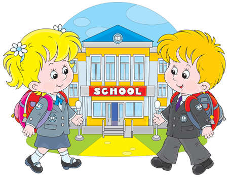 1 school bag: Schoolgirl and schoolboy walking to school Illustration