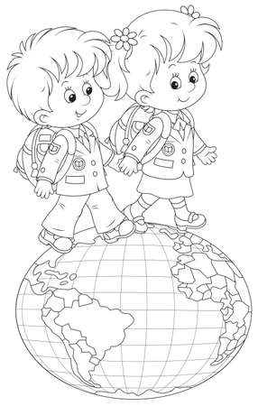 schooldays: Schoolchildren going on a globe