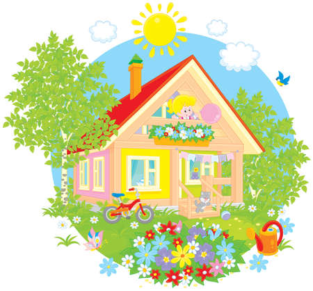 cartoon little girl: Little girl and kitten in a country house