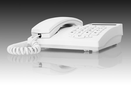 converse: white telephone with reflection isolated on white
