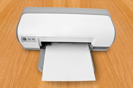 computer technology. ink-jet printer with a paper Stock Photo - 5842520