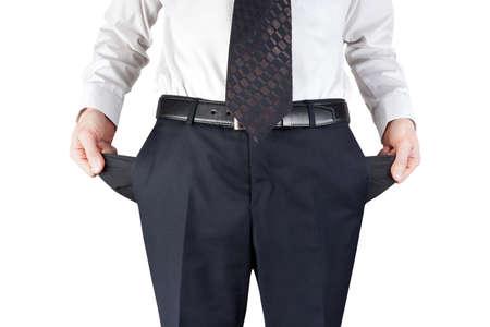 moneyless: bankrupt business man showing empty pockets  hands