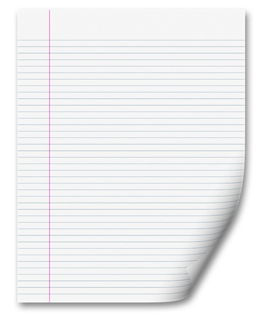 blank white paper background from lined page Stock Photo