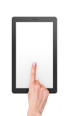 blank tablet: Modern computer tablet with blank screen size 16x9. White background