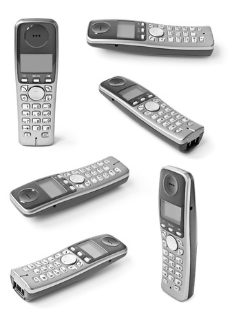 cordless: Collection of digital cordless answering system isolated on white