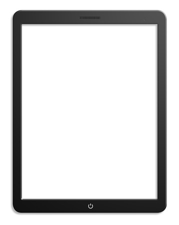 blank tablet: Illustration of modern computer tablet with blank screen. Isolated on white background