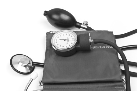 blood pressure cuff: medicine object. blood pressure with stethoscope isolated on white background Stock Photo