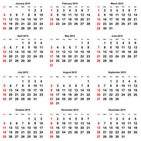 12 months of the annual calendar 2015 year stock photo 37392663
