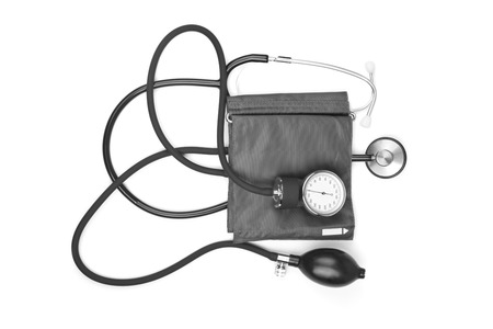 auscultoscope: medicine object. blood pressure with stethoscope isolated on white background Stock Photo