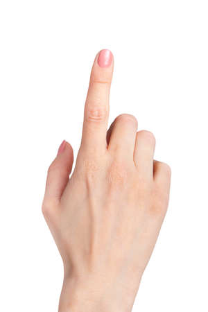 female hand index finger pointing up isolated on white Stock Photo