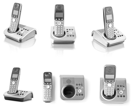 cut out device: Collection of six office phones isolated on white