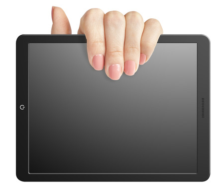 palmtop: Hand holding a blank tablet on a white background Stock Photo