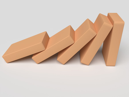 tendency: Conceptual illustration of falling bricks which push each other Stock Photo