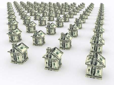 Many houses from the money on white. Business concept Stock Photo
