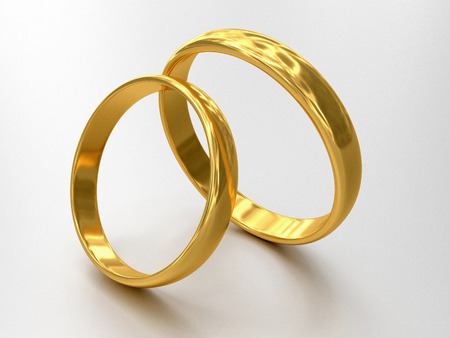 stale: Illustration of two wedding rings stale each other Stock Photo