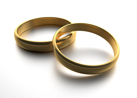 gold rings: Illustration of two wedding gold rings lie on each other
