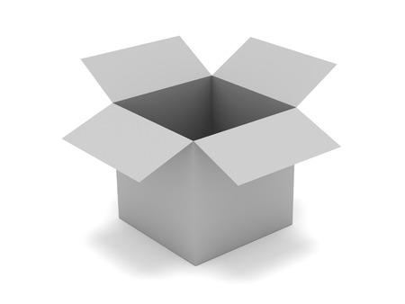 receptacle: Illustration of open grey box isolated on white Stock Photo