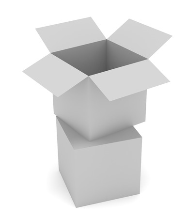 receptacle: Illustration of two grey boxes. Open and close. Stock Photo