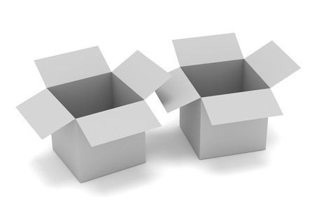 receptacle: Illustration of two grey open boxes isolated on white