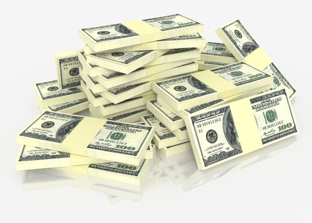 pile of money: Big money stack from dollars usa. Finance concepts