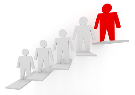 team leadership: Business concepts illustration. Individuality and leadership in team Stock Photo