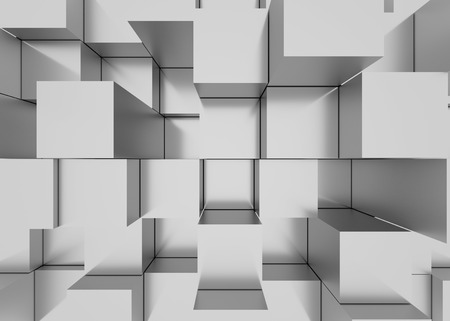 surround: Illustration of abstract mosaic three-dimensional grey background