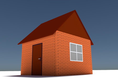 brick house: Illustration of simple brick house. Construction concept Stock Photo