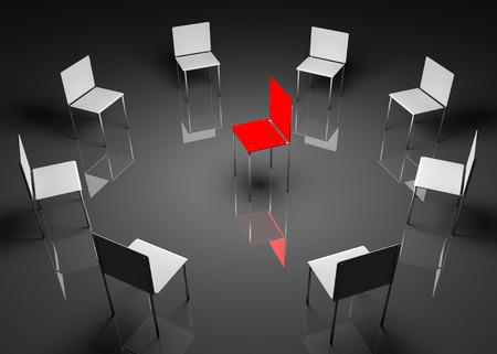 liderazgo: Ilustraci�n de liderazgo en la empresa. Uno rojo y ocho silla blanca Foto de archivo