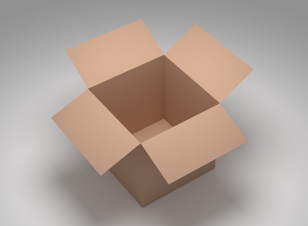brown box: Illustration of open brown box isolated on white Stock Photo