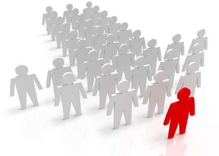 Illustration of leader leads the team forward. Red and white people Stock Photo
