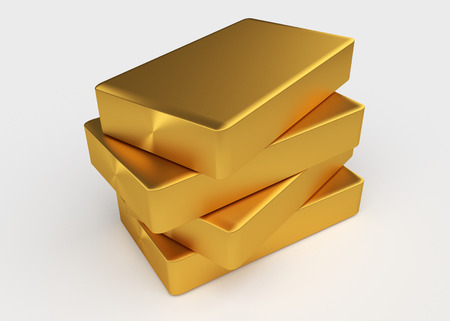 Four bullion of gold lying on each other