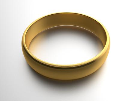 gold ring: Illustration of wedding gold ring over white background