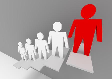 liderazgo empresarial: Conceptos de negocio ilustración. La individualidad y el liderazgo en el equipo