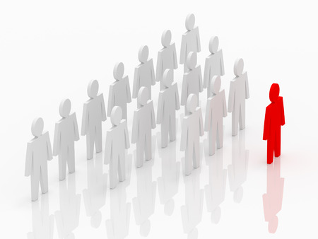 leader lead: Illustration of leader leads the team forward. Red and white people Stock Photo