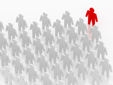 leading the way: Illustration of leader leads the team forward. Red and white people Stock Photo