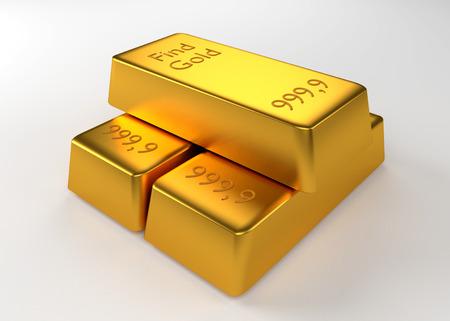 lingotes de oro: Tres lingotes de oro acostado en la otra Foto de archivo