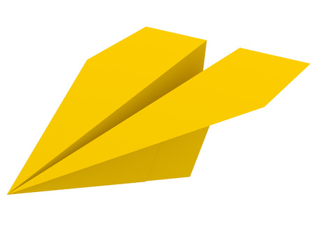 aerospace: Illustration of yellow paper plane isolated on white