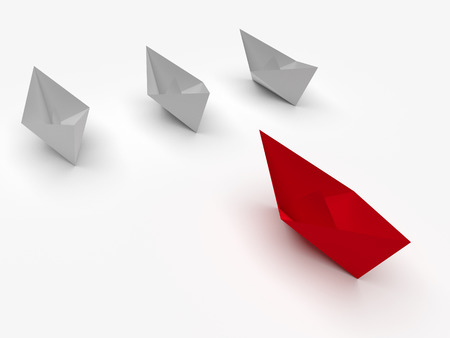leading the way: Leadership concept. One red leader ship leads other white ships forward Stock Photo