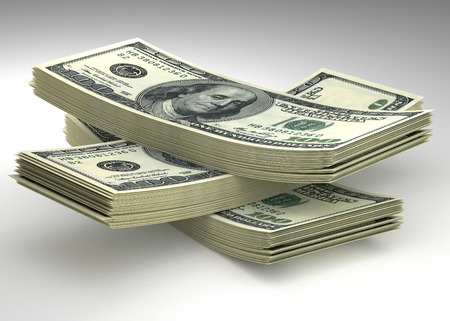 money concept: Money and finance concept - many dollars banknotes