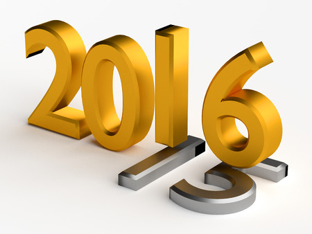 gold numbers: Gold numbers of New Year 2016 over grey old 2015