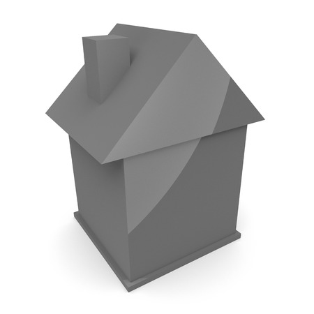 home ownership: Illustration of simple grey house. Real estate concepts